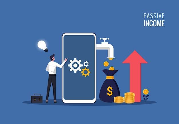 Concetto di reddito passivo. l'uomo d'affari e il suo smartphone con i soldi escono dal telefono