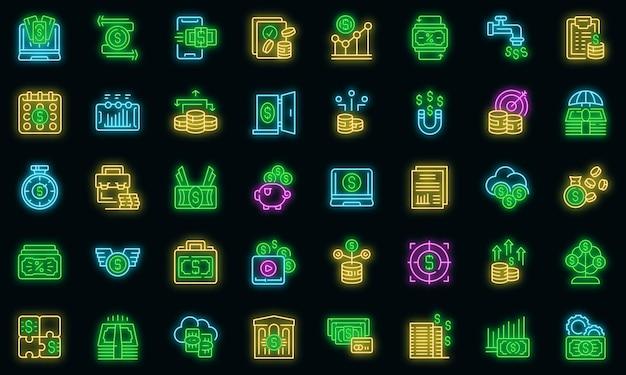 Reddito passivo set di icone vettoriali neon