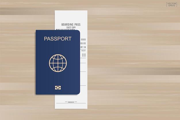 Passaporto e biglietto della carta d'imbarco su fondo di legno. illustrazione vettoriale.