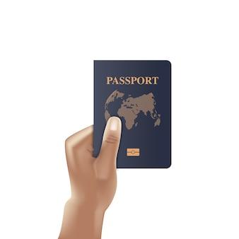 Libro passaporto con mano che tiene, cittadino di identificazione