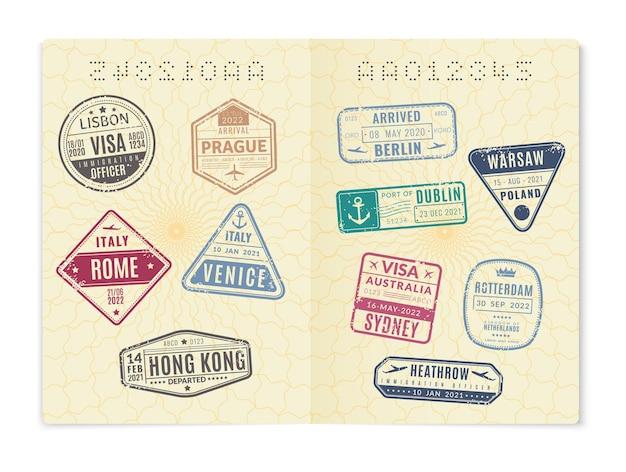 Pagina del passaporto con timbri di visto. documento di identificazione internazionale straniero aperto realistico con molti sigilli di viaggio di immigrazione, id ufficiale di cittadino o viaggiatore, illustrazione vettoriale isolato
