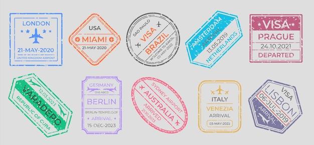 Timbri del passaporto. marcatura del visto di viaggio internazionale, etichette vintage per viaggi d'affari e immigrazione