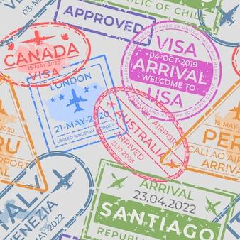 Modello di timbri sui passaporti. pagina senza cuciture con timbri di arrivo e partenza in aeroporto, elementi di viaggio e immigrazione