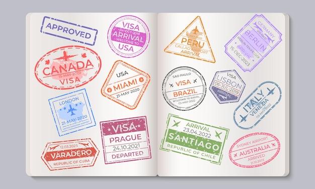 Timbri sui passaporti. raccolta marchi di viaggio e immigrazione, timbri aeroportuali di arrivo e partenza. segni isolati paesi di vettore nel passaporto