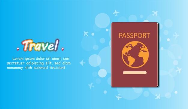 Passaporto viaggia intorno al concetto del mondo.