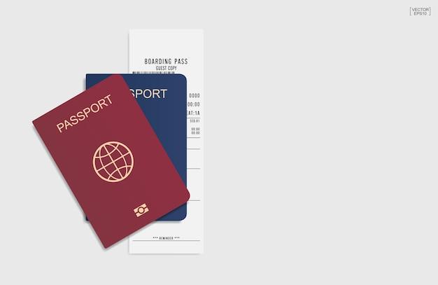 Passaporto su sfondo bianco.