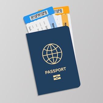 Passaporto con illustrazione di biglietti d'imbarco