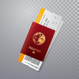 Passaporto con disegno del modello di biglietti d'imbarco