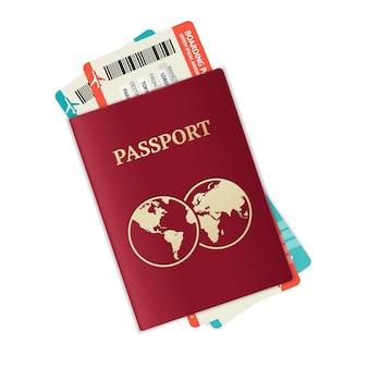 Passaporto con biglietti concetto di vacanza e vocazione