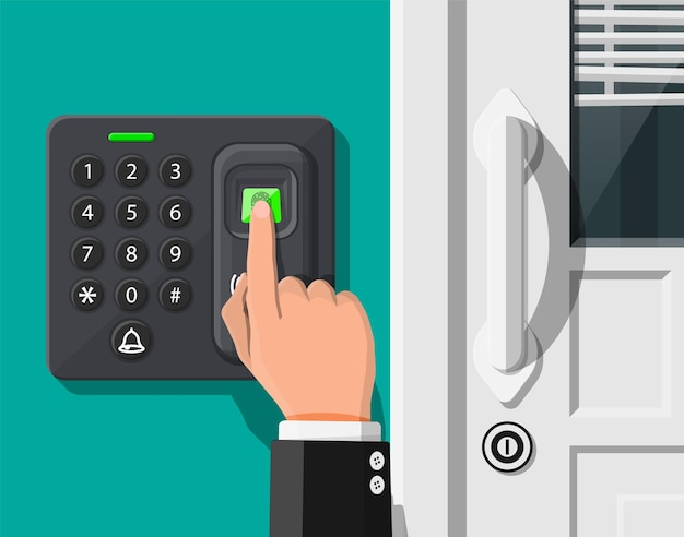 Dispositivo di sicurezza con password e impronte digitali all'ufficio o alla porta di casa. macchina per il controllo degli accessi o cronometraggio delle presenze. lettore di tessere di prossimità. illustrazione vettoriale in stile piatto