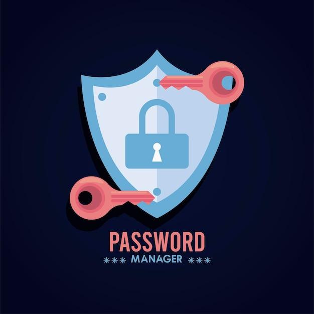 Tema del gestore di password con chiavi e lucchetto nell'illustrazione dello scudo