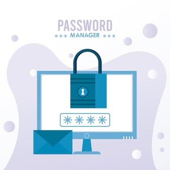 Tema del gestore di password con lucchetto e busta nell'illustrazione del desktop