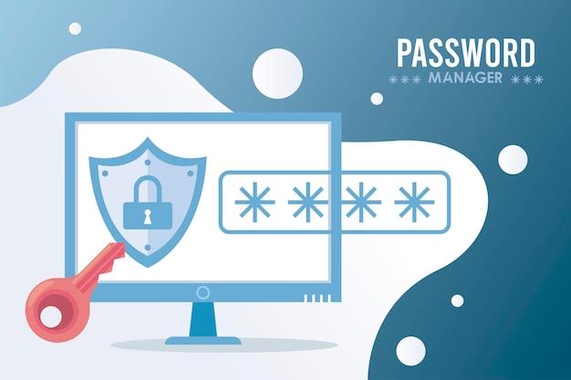 Tema del gestore di password con lucchetto in scudo e cifra nell'illustrazione desktop