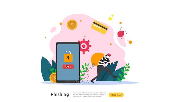 Modello di pagina di destinazione del concetto di attacco di phishing con password
