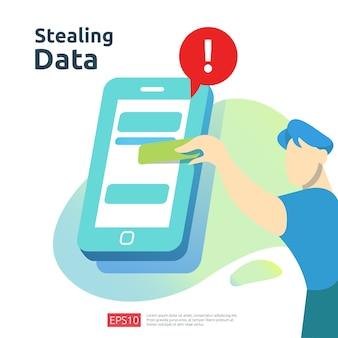 Attacco di phishing con password. rubare dati personali. illustrazione di concetto di sicurezza di internet