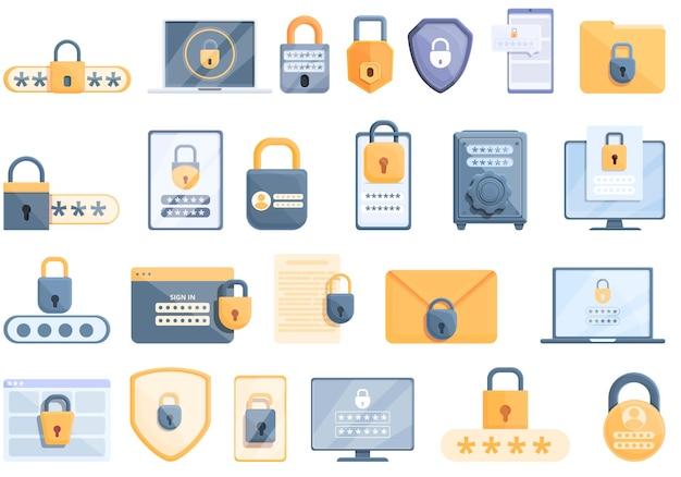Set di icone di protezione con password. cartoon set di icone di protezione con password password