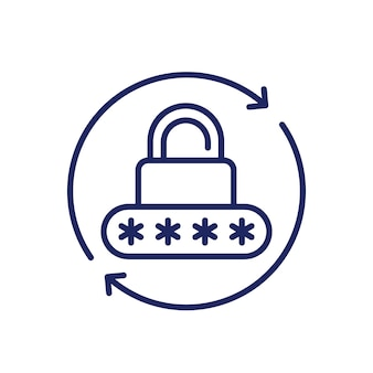 Reimpostazione della password, icona di sicurezza, vettore di linea