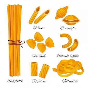 Insieme del fumetto della pasta isolato su fondo bianco. diversi tipi di spaghetti italiani con nomi, spaghetti, penne, conchiglie, farfalle, gomiti rigati, rigatoni, collezione di fettuccine