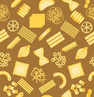 Sfondo modello pasta su un assortimento di forme diverse marrone per la tua attività alimentare. illustrazione vettoriale di penne, fusilli, spaghetti