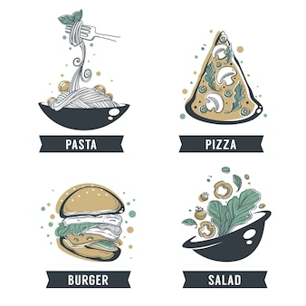 Pasta, pizza, insalata e hamburger, schizzo disegnato a mano con composizione scritta per logo, emblema, etichetta