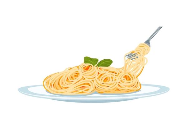Pasta su un piatto con forchetta