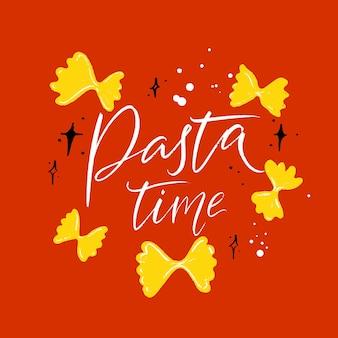 Segnatempo della pasta design moderno in calligrafia testo bianco su sfondo arancione con farfalle gialle