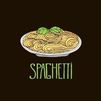 Pasta con basilico sul piatto