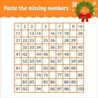 Incolla i numeri mancanti da 1 a 100. pratica della scrittura a mano.