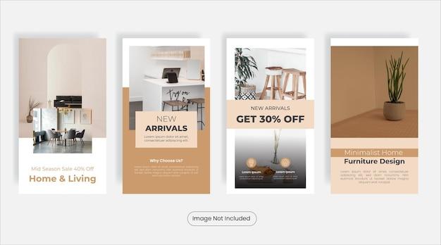Set di modelli di banner per social media di social media per mobili per la casa di colore pastello