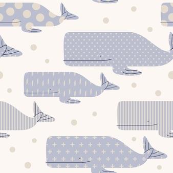 Modello senza cuciture della balena di vita di mare minima di colori pastello