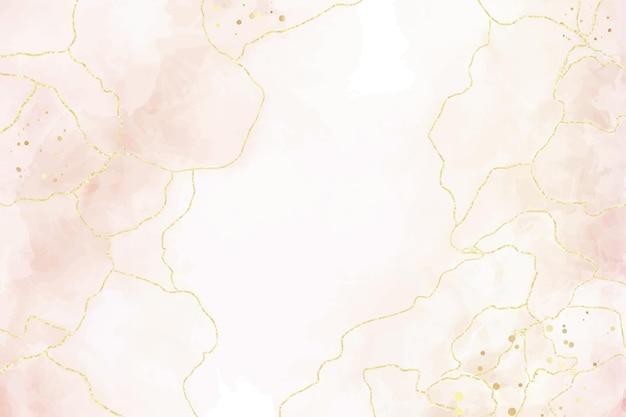 Pastello polveroso blush liquido sfondo acquerello con vernice oro