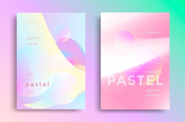 Design di copertine sfumate pastello. tendenze stile moda anni '80 e '90 per libro, volantino.