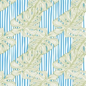 Reticolo di doodle senza giunte dell'ornamento della foglia di monstera verde pastello. sfondo a righe bianche e blu.