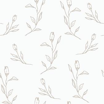 Modello senza cuciture di rose disegnate a mano pastello line art style