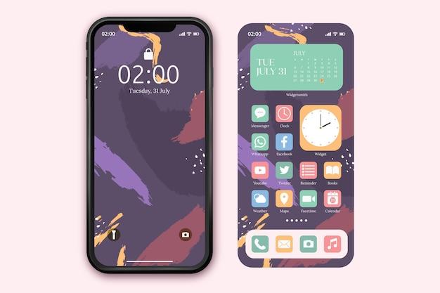 Modello di schermata iniziale pastello per smartphone