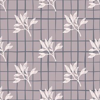 Modello senza cuciture di tavolozza pastello con rami sagomati botanici. ornamento floreale bianco su sfondo a scacchi viola chiaro.