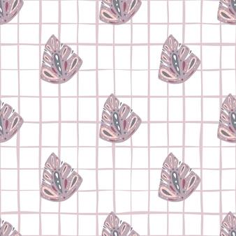 Elementi di monstera astratti viola pastello senza cuciture doodle pattern.