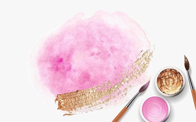 Pennellate rosa pastello, dorate e rosa, barattoli con tempera, vernice acrilica con realistico pennello in legno 3d.