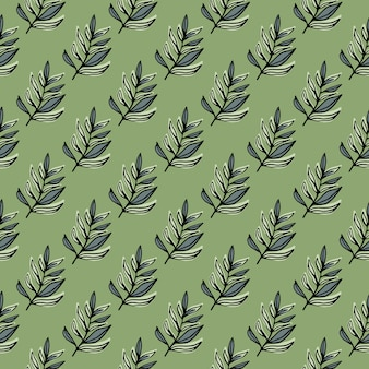 Pastello doodle seamless pattern con piccole forme di ramo di fogliame. sfondo verde chiaro.