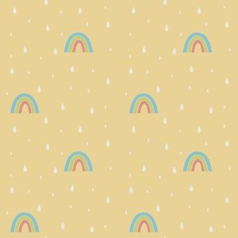 Modello senza cuciture pastello con arcobaleni e gocce di pioggia design scandinavo grafico carino infantile