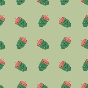 Modello botanico senza cuciture di toni pastello con ghianda colorata verde e rossa.