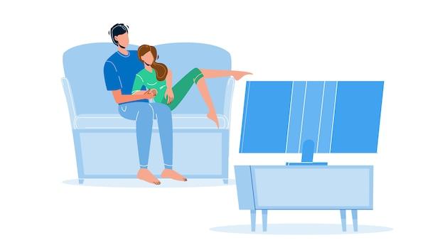 Famiglia coppia di passatempo guardare la tv insieme