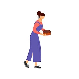 Pasticcere, donna con carattere senza volto di colore piatto torta. cucina dolce da forno, illustrazione di cartone animato isolato preparazione dolciaria per web design grafico e animazione