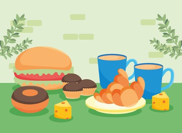 Prodotti di pasticceria e hamburger