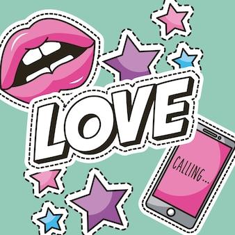 Toppe moda amore stelle labbra mobili