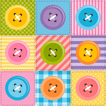 Sfondo patchwork con bottoni da cucire