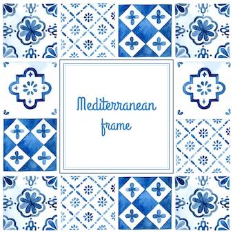 Cornice dell'acquerello di piastrelle mediterranee patchwork