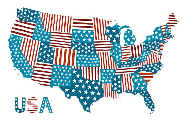 Mappa vettoriale patchwork degli stati uniti.