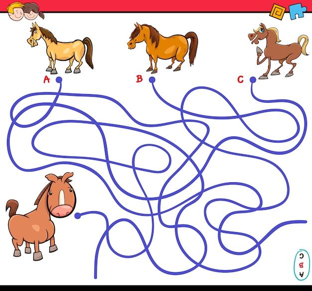 Gioco labirinto percorso con cavalli
