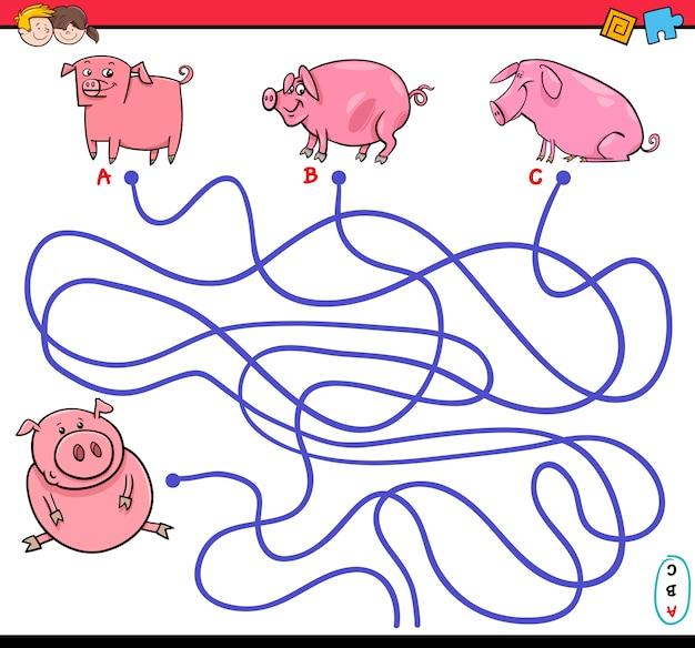 Gioco labirinto percorso con maiali